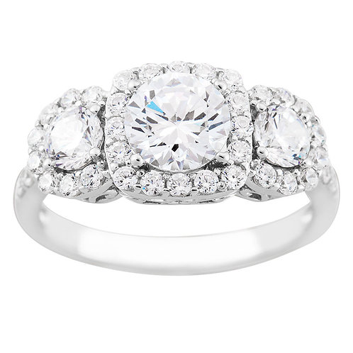 Sterling White CZ 3 Halo Ring1