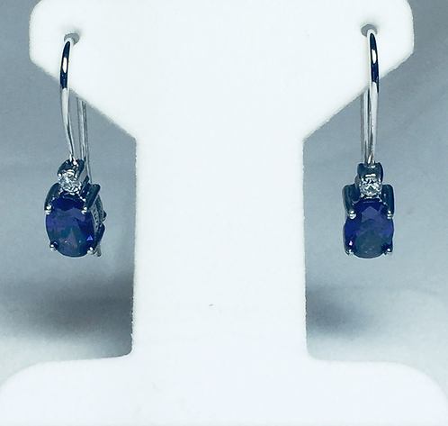 Sterling Purple and White CZ Earrings