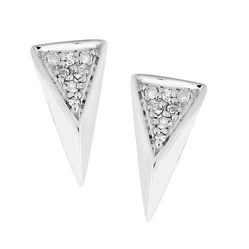 Sterling Stud Earrings with Diamond Accents