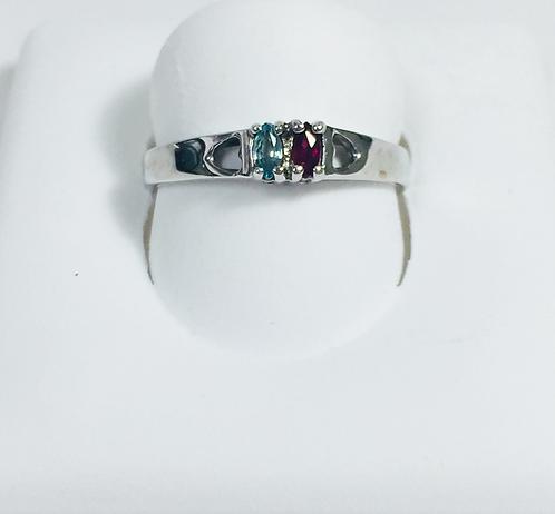 Genuine blue topaz & ruby ring.