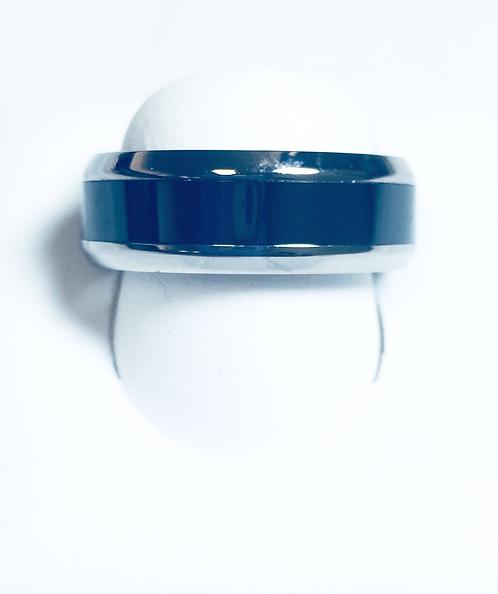 Polished Titanium and Ceramic Band