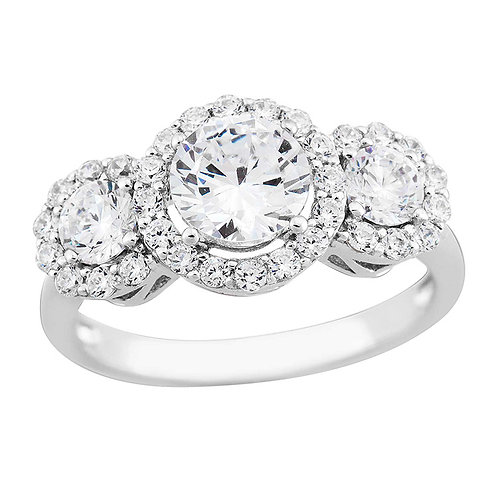 Sterling White CZ 3 Halo Ring2