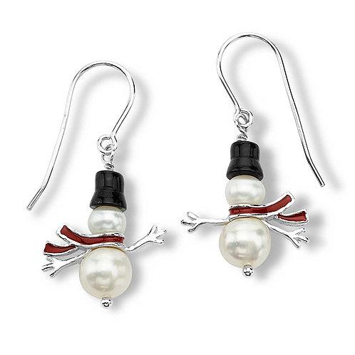 Sterling Pearl Snowman Earrings