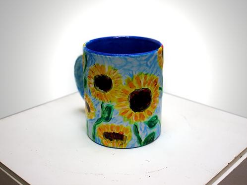 Ceramic Mug with Sunflower Design