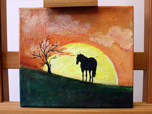 'Silhouette in a Sunset' - Acrylic