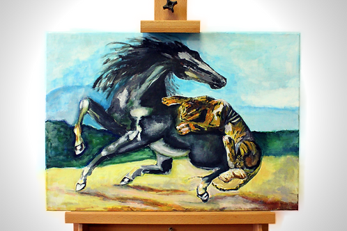 'Tiger and a Horse' - Acrylic