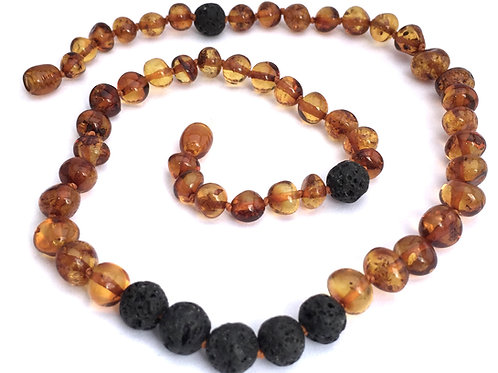 Adult Necklace| Lava Rock with Baltic Amber for Essential Oils