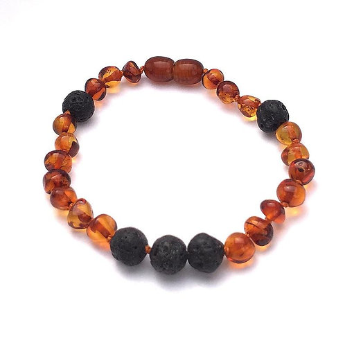 Adult Bracelet | Lava Rock with Baltic Amber for Essential Oils