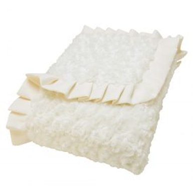 Velour Ruffle Trimmed Blanket | Ivory
