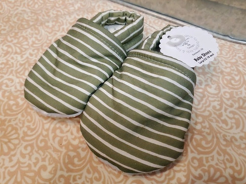 Baby Shoes | Sage Green with Stripes