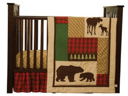 3-Piece Crib Set - Red Plaid Moose