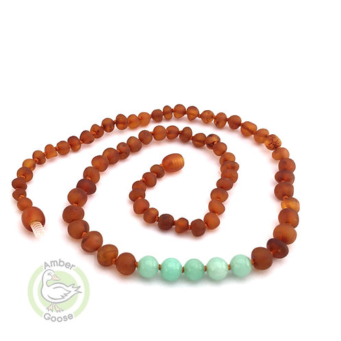 Baltic Amber Teething Necklaces for Babies & Toddlers w/ Semi Precious Stones