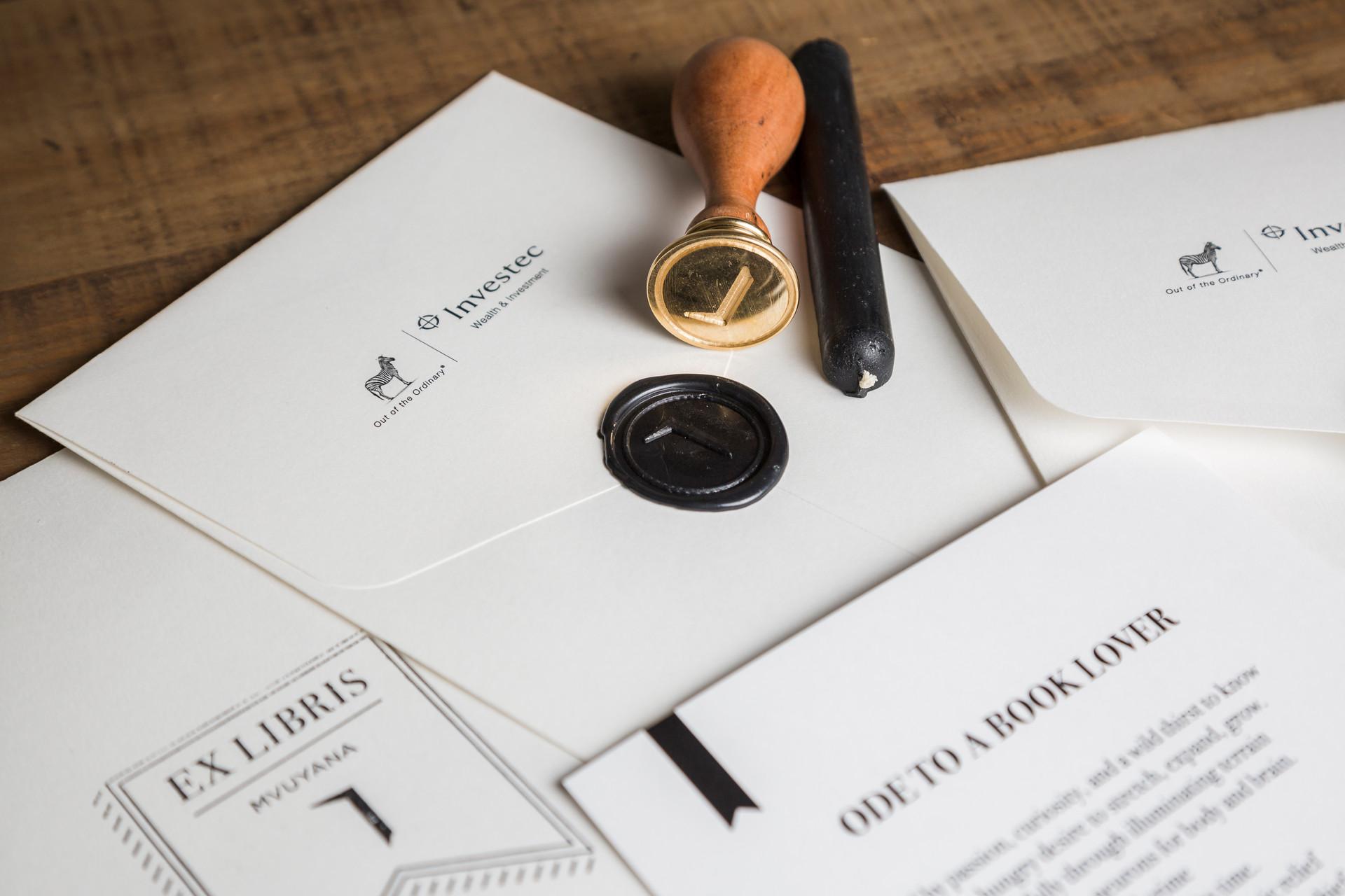 Investment bank literature wax stamp