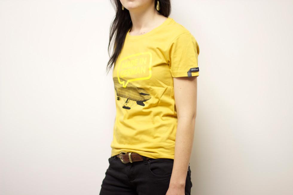 German education tshirt on person yellow