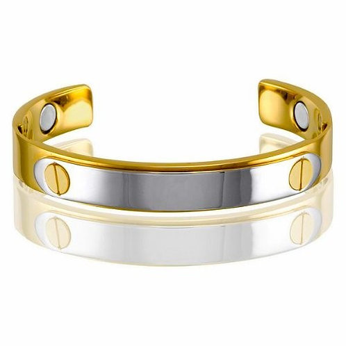 Stainless Steel 14k Gold Plated Magnetic-Health Golf Cuff Bracelet