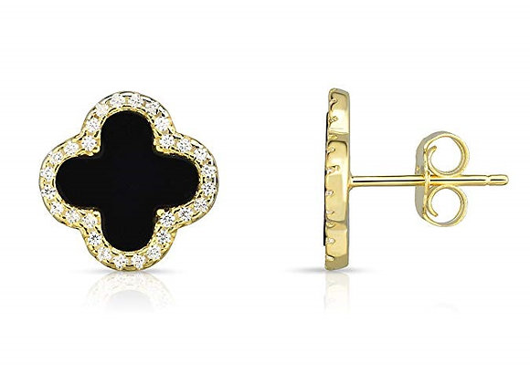 14K Yellow Gold Set Earrings Four Leaf Clover Black Pea