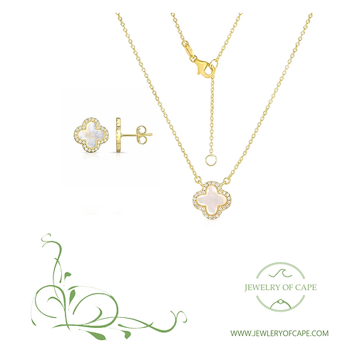 Earrings & Necklace Four Leaf Clover Design White Pearl Set