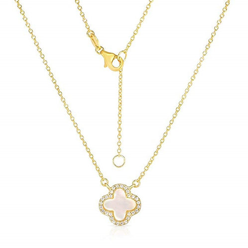 925 Sterling Silver Cubic Zirconia Four Leaf Clover Necklace