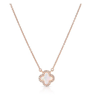 14K Rose Gold Plated 925 Sterling Silver Necklace Four Leaf Clover White Pear