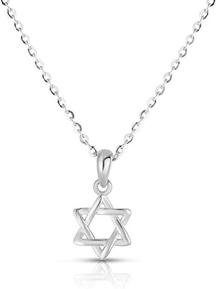Rhodium Plated Star of David Necklace 925 Sterling Silver