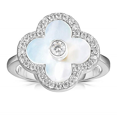 Solid 925 Sterling Silver Cubic Zirconia Open Four Leaf Clover Ring.