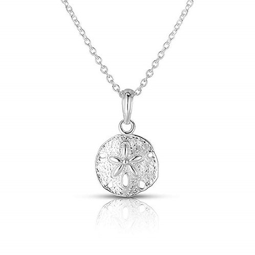"Solid Sterling Silver Sand Dollar Sea Urchin Pendant 18"" Inch Length Necklace"