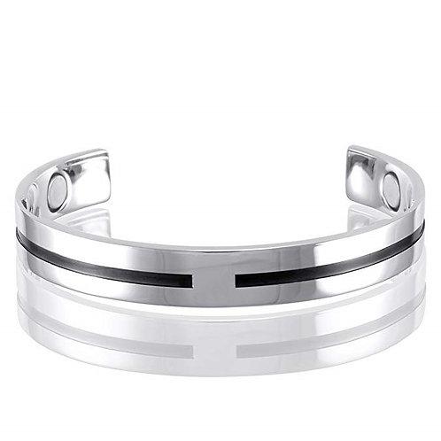 Stainless Steel 4-Magnet-Health Golf Cuff Bracelet, Unisex