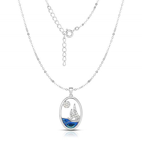 Silver Cubic Zirconia Sailing Boat Adjustable Length Oval Disk Pendant Necklace