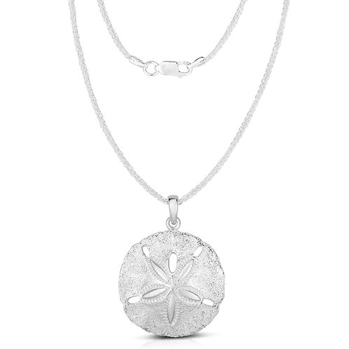 Solid Sterling Silver Two Sides Raised Sand Dollar Starfish Pendant and Necklace