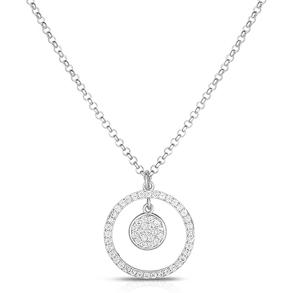925 Sterling Silver And Cubic Zirconia Cluster Dangling Circle Pendant.