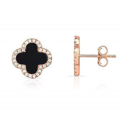 Rose Gold Earrings Four Leaf Clover Black Pea