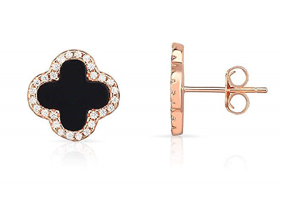 Rose Gold Set Earrings Four Leaf Clover Black Pea