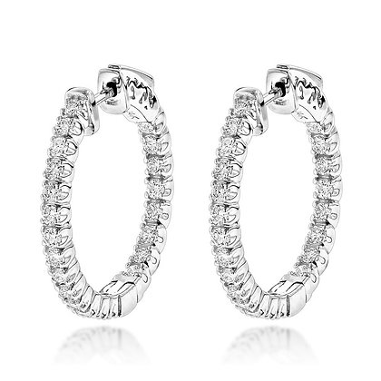 925 Sterling Silver Inside Out Earrings Diamond Cut Cubic Zirconia