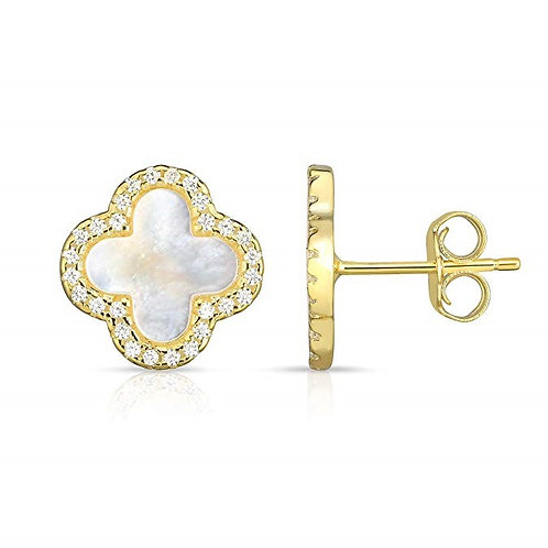 925 Sterling Silver Mother Of Pearl Cubic Zirconia 4 Leaf Clover Earrings