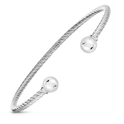Cape Cod 925 Sterling Silver And Stainless Steel Twisted 2-Ball Cuff Bracelet
