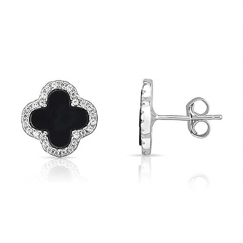 Sterling Silver Black Onyx And Cubic Zirconia Four Leaf Clover Post Earrings.