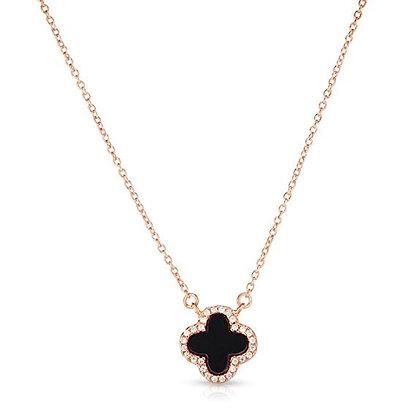 14K Rose Gold Necklace Four Leaf Clover Black Pearl