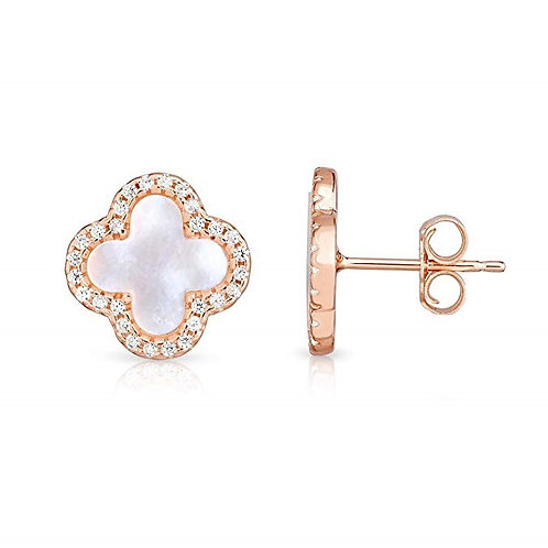 925 Sterling Silver Mother Of Pearl Cubic Zirconia 4 Leaf Clover Earrings Set