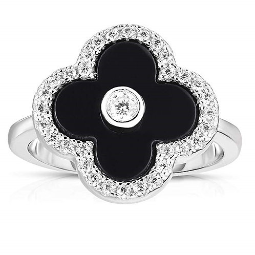 Solid 925 Sterling Silver Cubic Zirconia Open Four Leaf Clover Ring