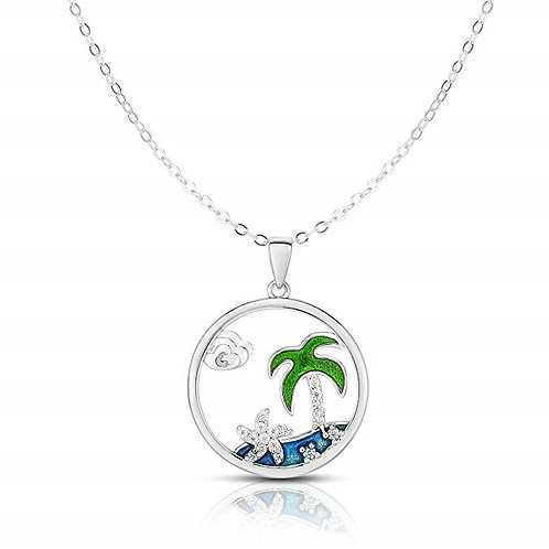 Silver Cubic Zirconia Palm Tree Adjustable Length Disk Pendant Necklace