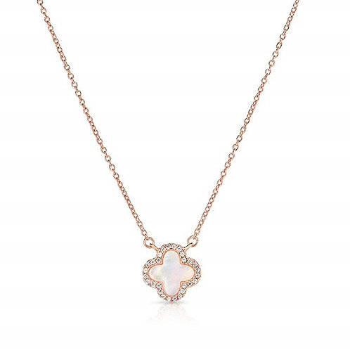 Sterling Silver Mother of Pearl and Cubic Zirconia Four Leaf Clover Necklace