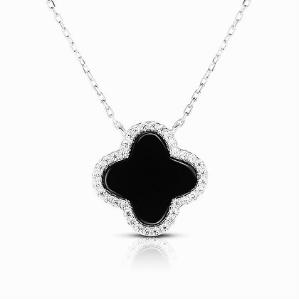 925 Sterling Silver Necklace Four Leaf Clover Black Pearl