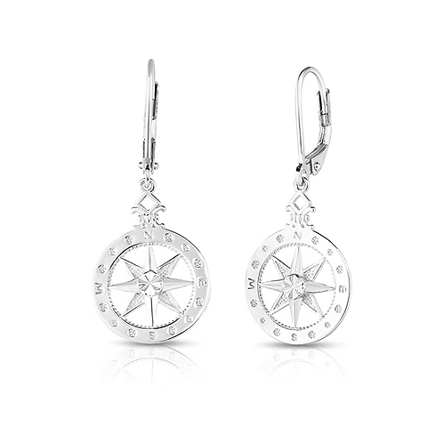 925 Sterling Silver Elegant Nautical Compass-Rose French Wire Dangling Earrings