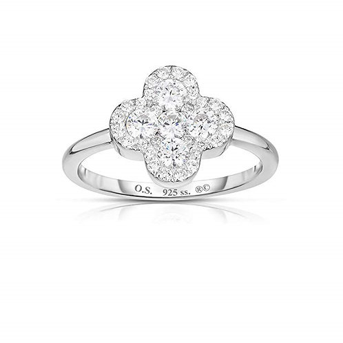 925 Sterling Silver Invisible Set Cubic Zirconia Four Leaf Clover Ring