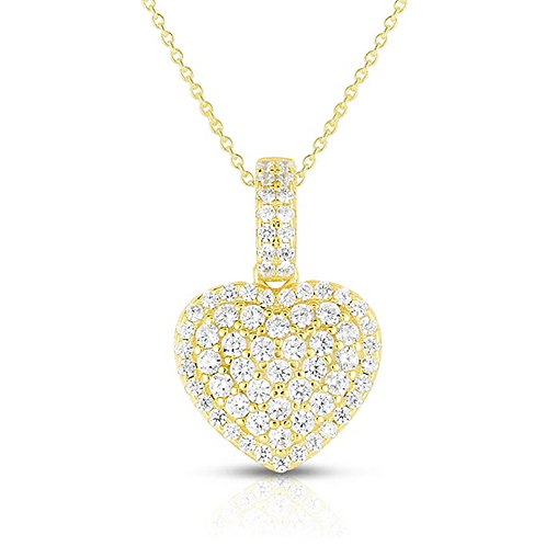 925 Sterling Silver Diamond Cut Cubic Zirconia Heart Pendant and Necklace