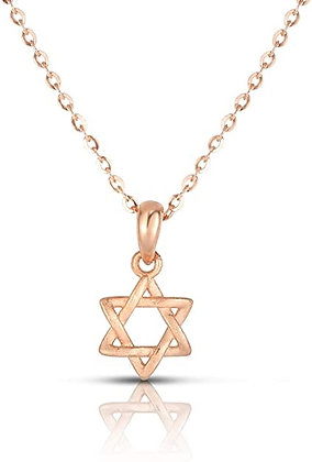 14K Rose Gold Plated Star of David Necklace