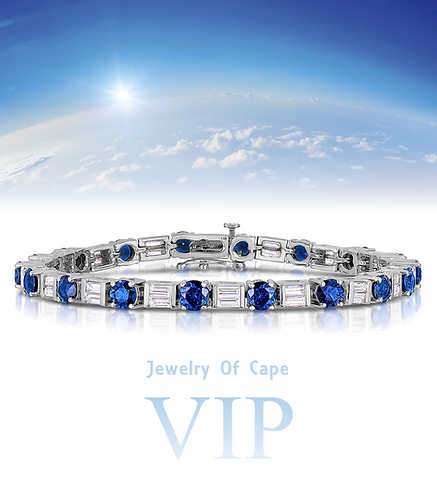 Jewelry Of Cape VIP 14K White Gold, Natural Sapphire and Diamond Bracelet 7""