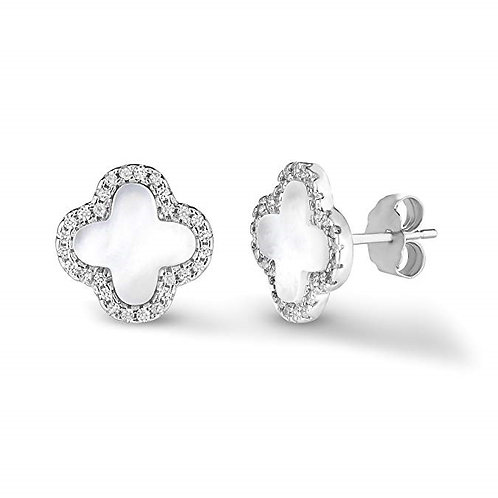 925 Sterling Silver Mother Of Pearl And Cubic Zirconia Four Leaf Clover Post