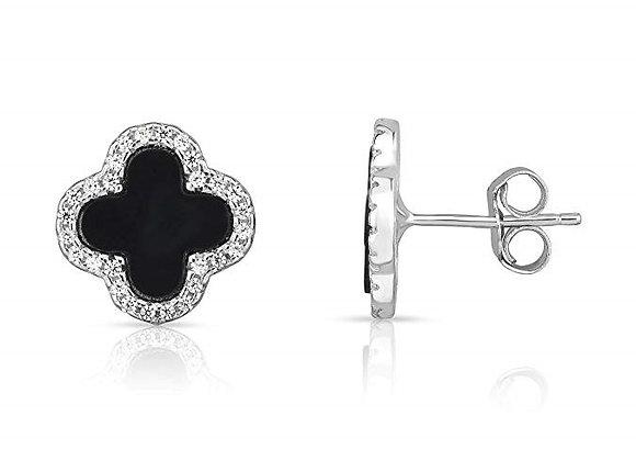 925 Sterling Silver Set Earrings Four Leaf Clover Black Peal
