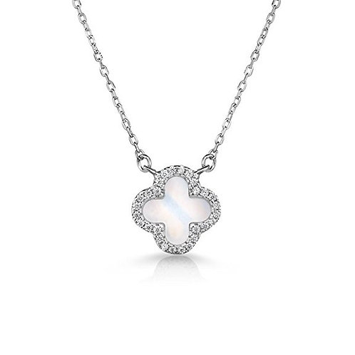925 Sterling Silver and Cubic Zirconia 4 Leaf Clover Necklace